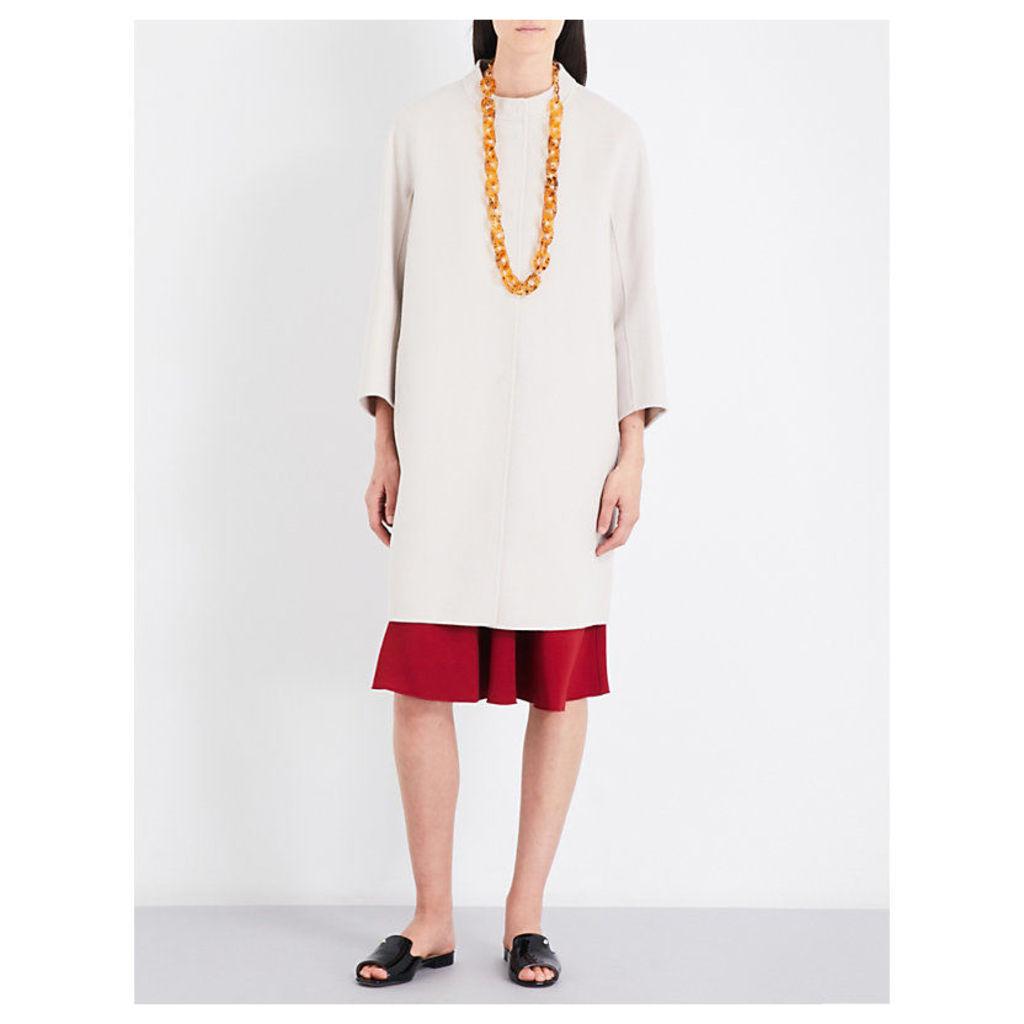 Pesi cropped-sleeve wool coat