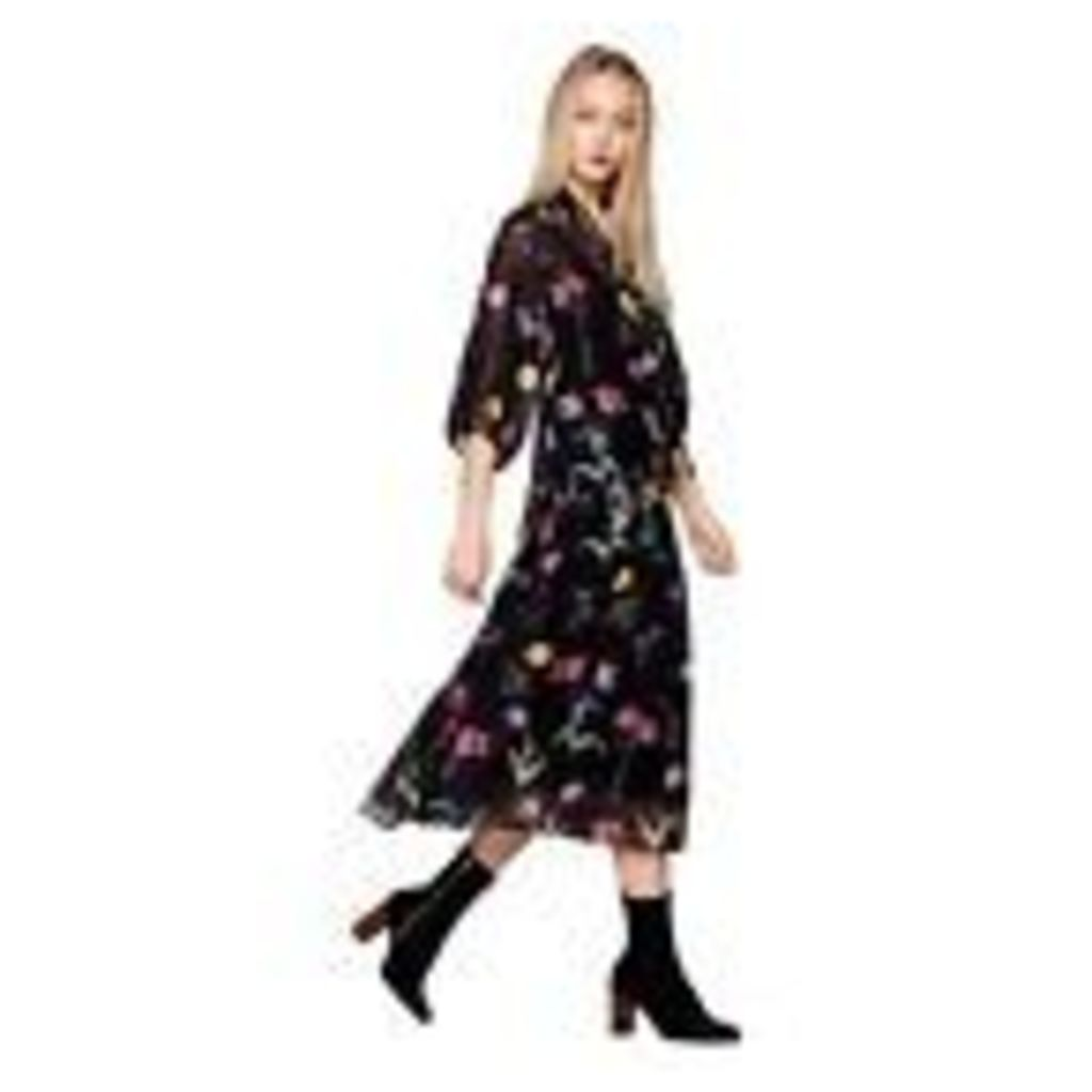 Studio By Preen Womens Black Floral Print Midi Dress From Debenhams