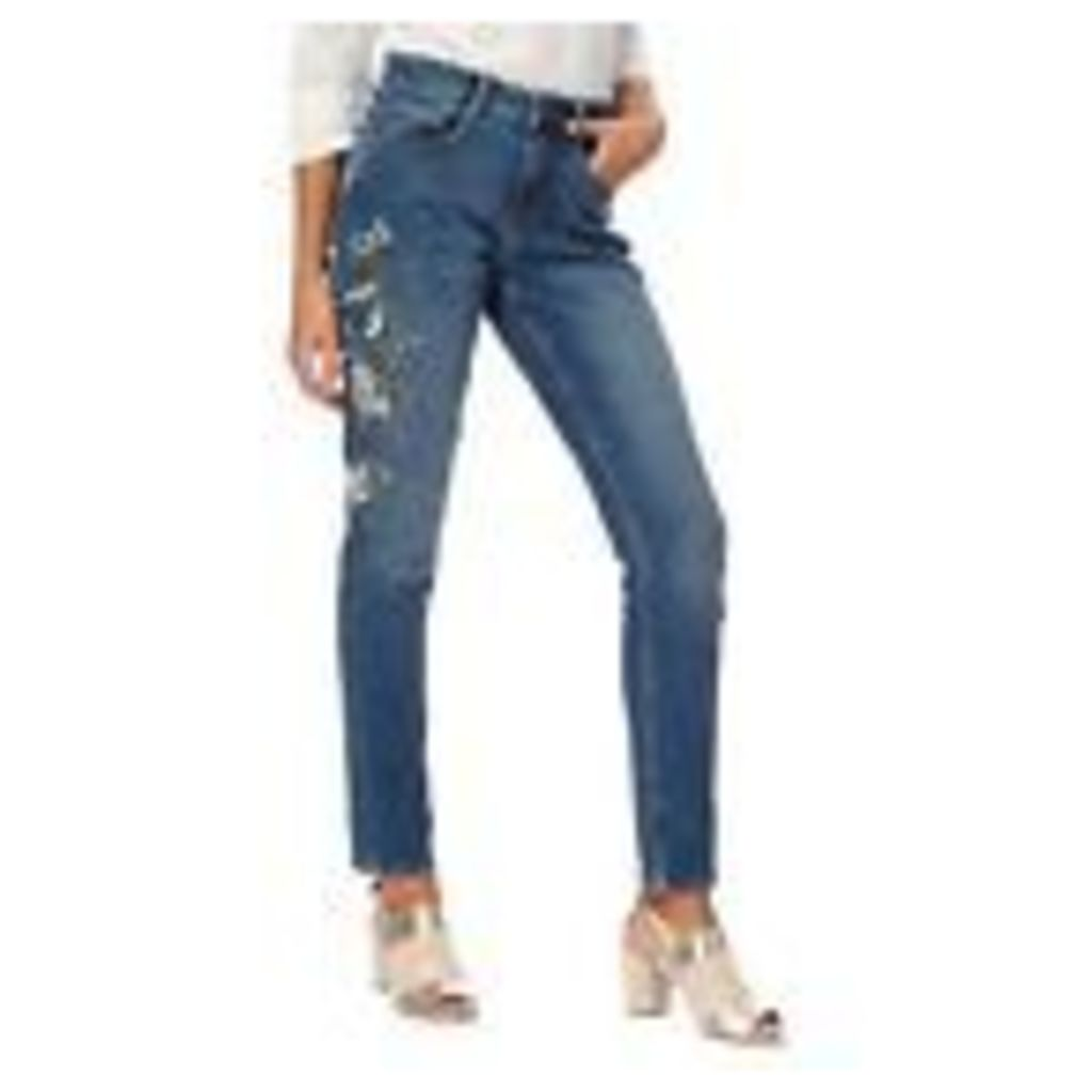 Nine By Savannah Miller Womens Blue Embroidered Slim Fit Jeans From Debenhams