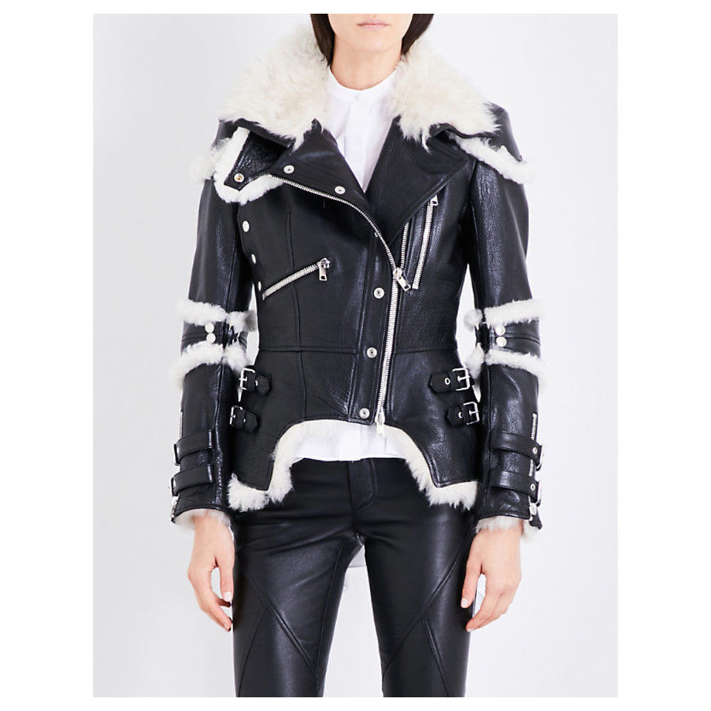 Biker-collar leather and shearling jacket