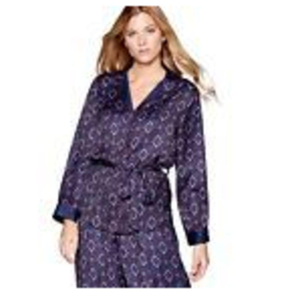 Nine By Savannah Miller Womens Navy Tile Print Satin Long Sleeve Pyjama Top