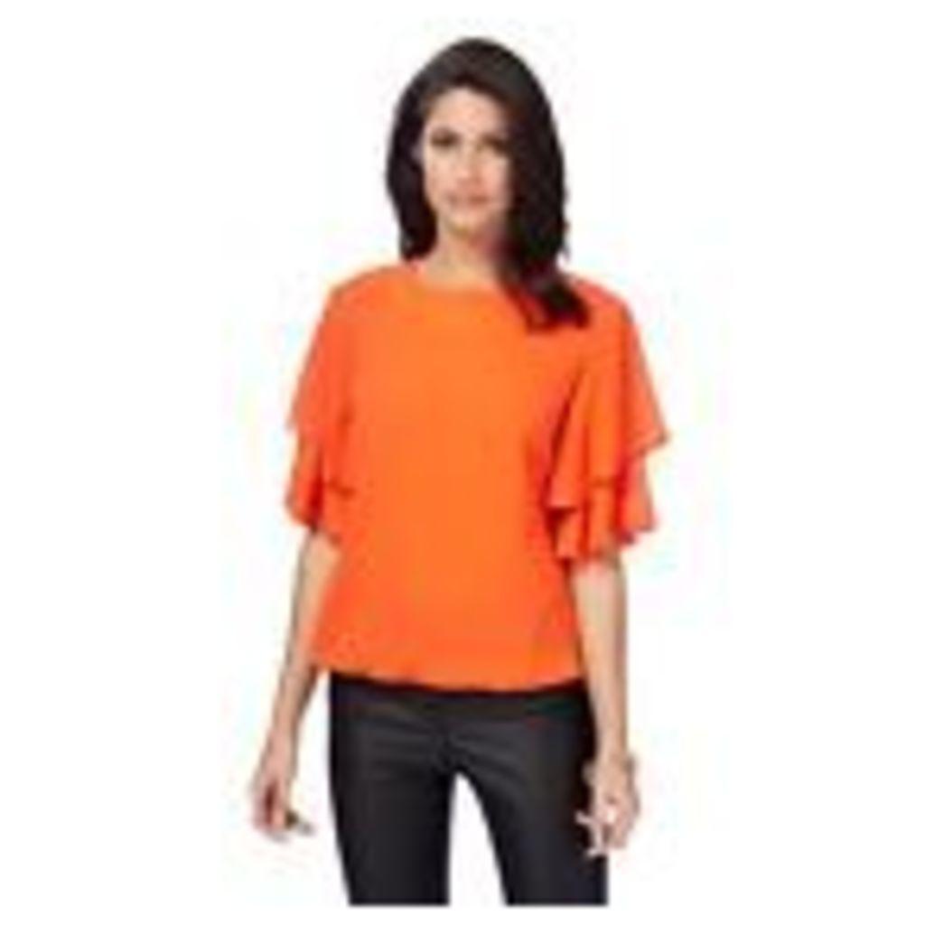 Star By Julien Macdonald Womens Orange Ruffle Sleeve Top From Debenhams