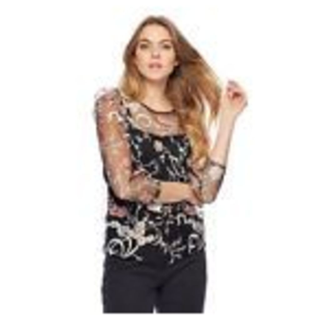 Red Herring Womens Black Embellished Mesh Top And Camisole From Debenhams