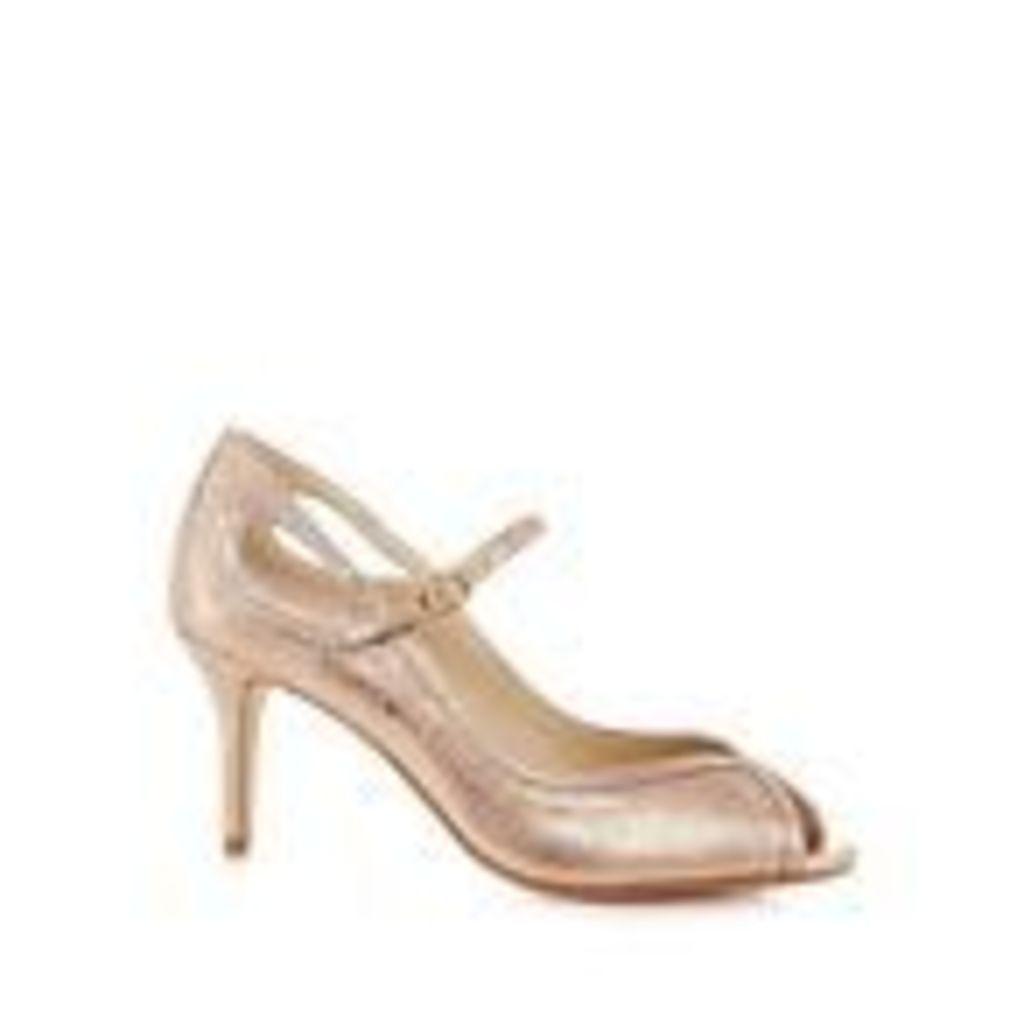 Debut Womens Gold Glitter Stiletto Heel Peep Toe Shoes From Debenhams