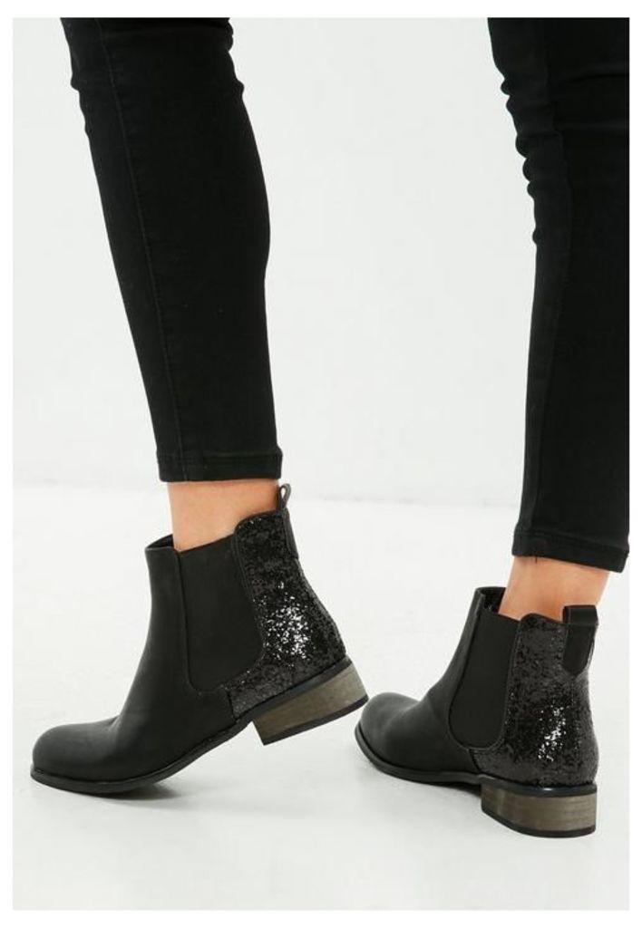 Black Glitter Flat Ankle Boots, Black