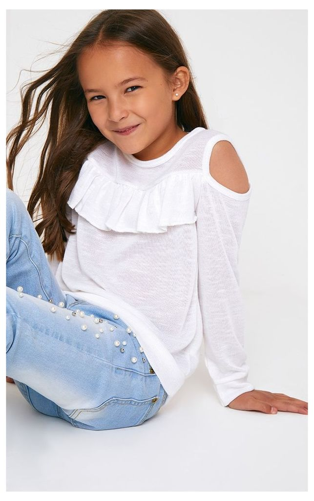 Cut And Sew Knit Cold Shoulder White Top, White