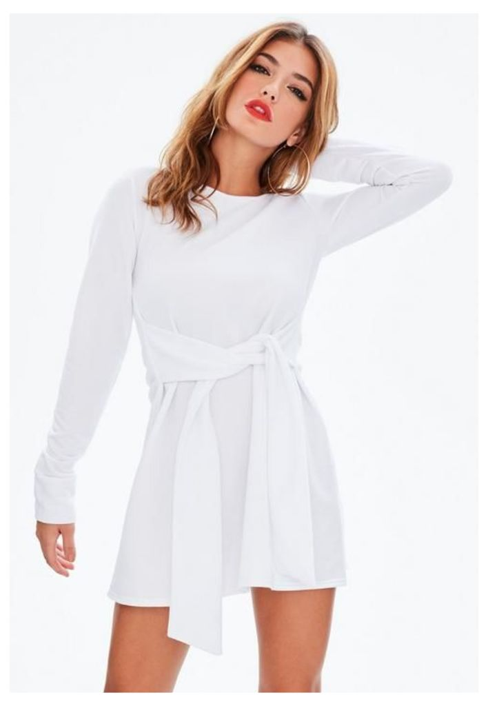 White Tie Waist Sweater Dress, White