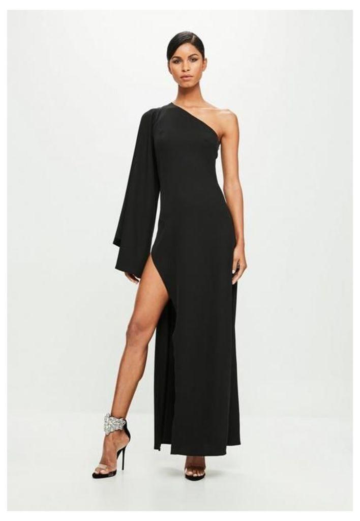 Black One Shoulder Maxi Dress, Black