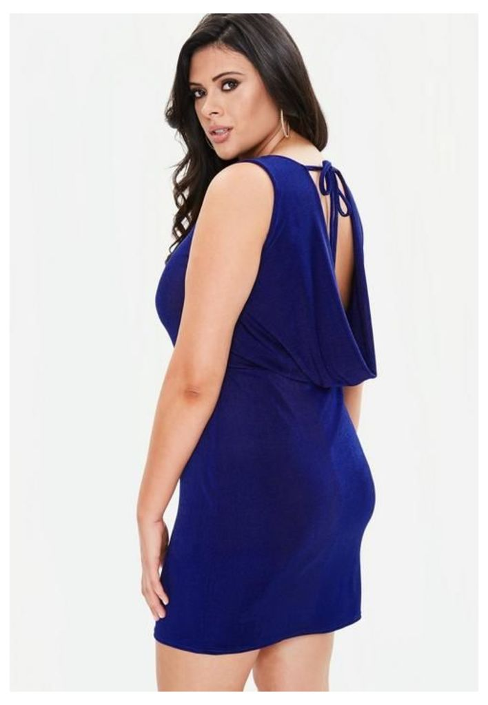Curve Blue Slinky Cowl Dress, Blue