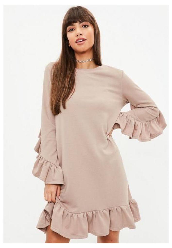 Beige Frill Sweater Dress, Beige