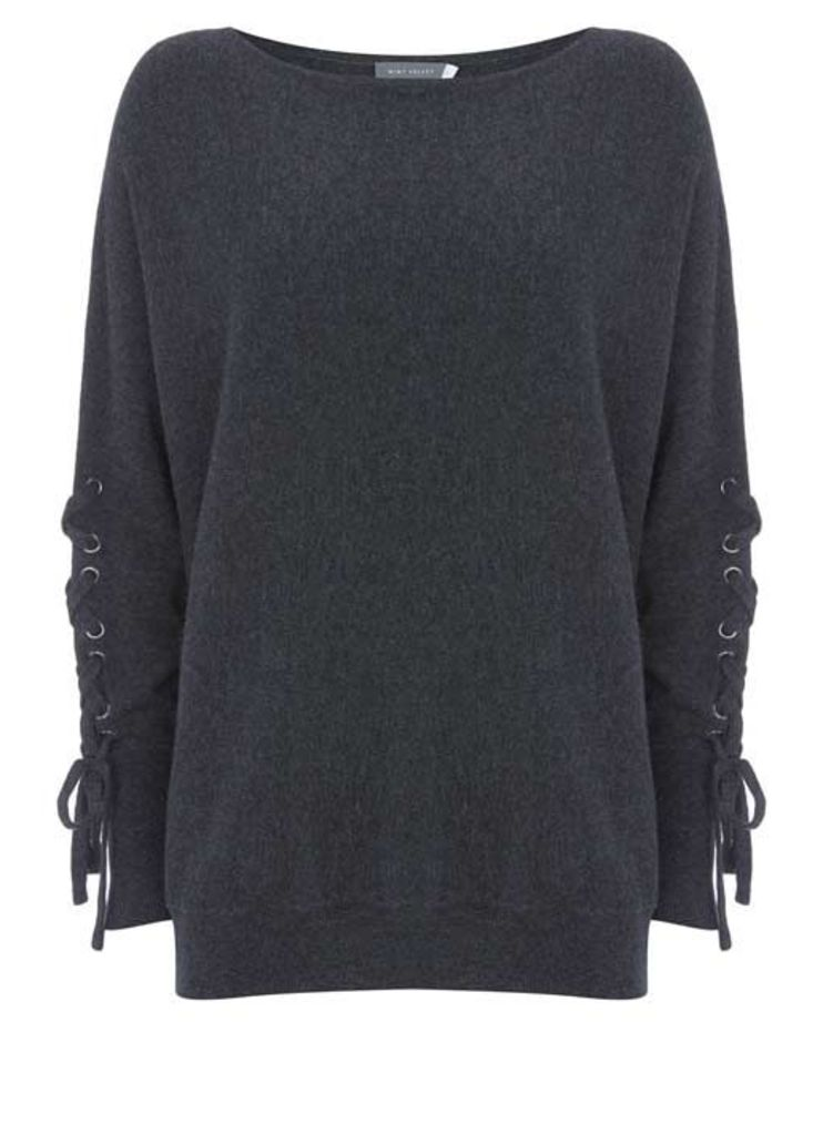 Charcoal Lace Up Batwing Knit