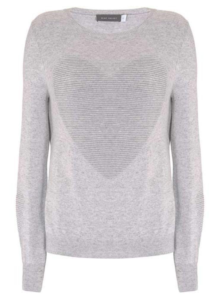 Silver Grey Ottoman Heart Knit