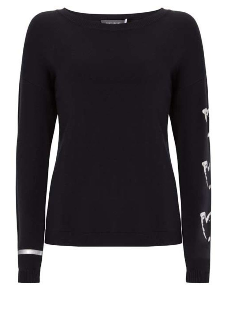 Navy Foil Heart Knitted Sweat