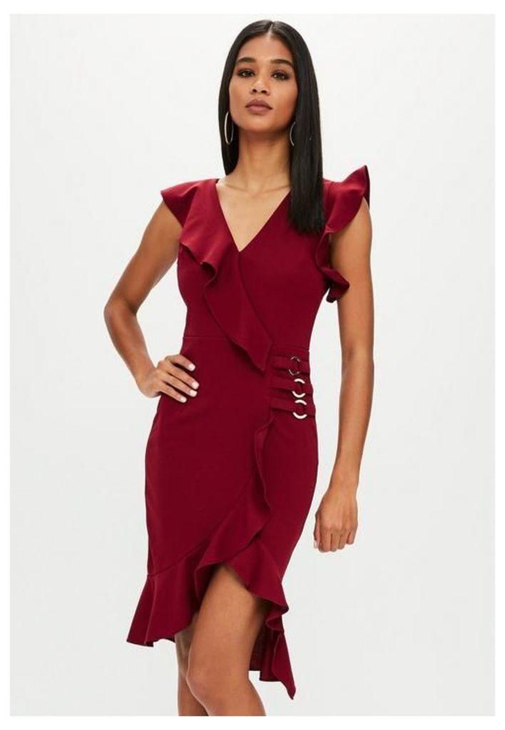 Red Frill Shoulder Cross Over Dress, Red