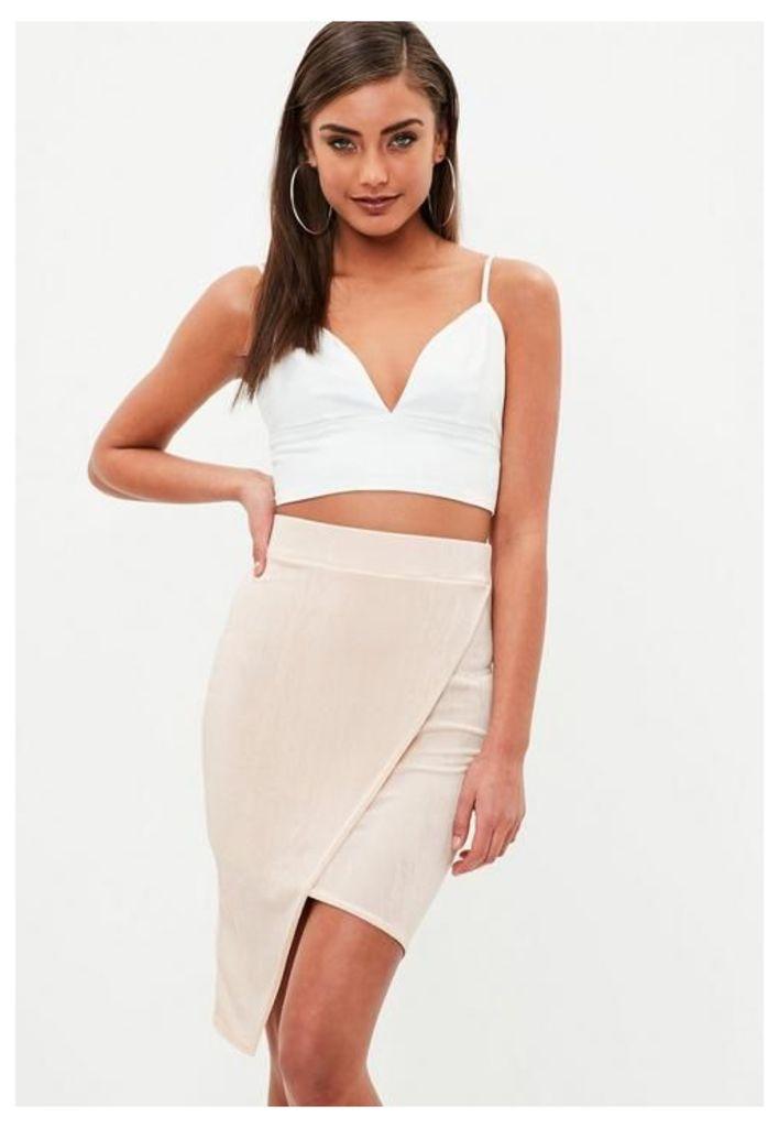 Nude Slinky Wrap Asymmetic Midi Skirt, Beige