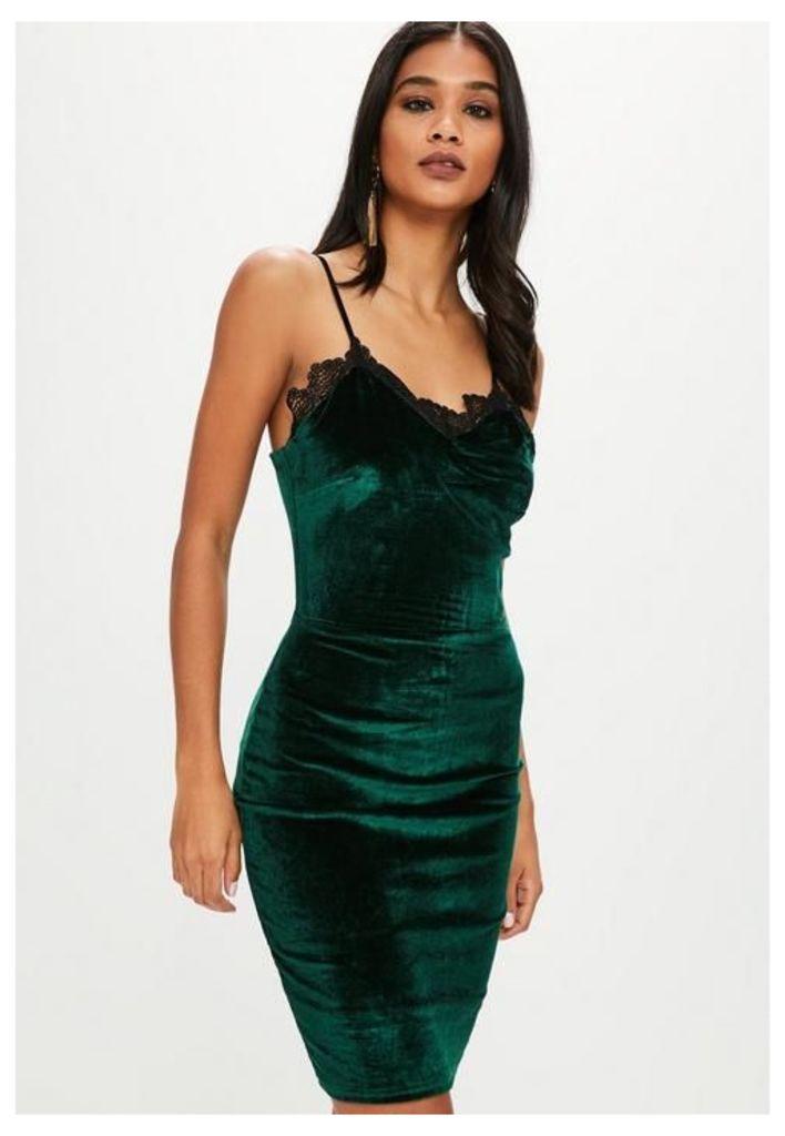 Green Velvet Lace Trim Cami Dress, beige