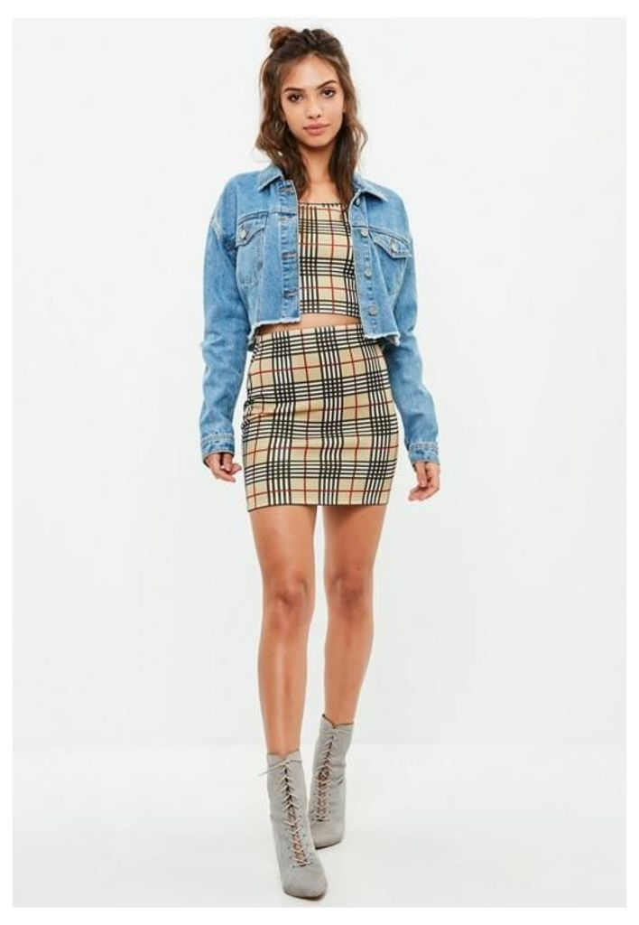 Yellow Scuba Mini Skirt and Bralet Set, Cream