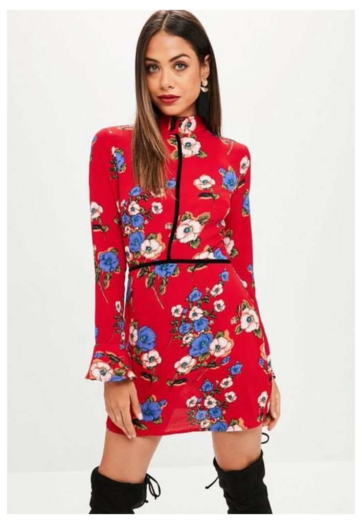 Red Floral High Neck Shift Dress, Red