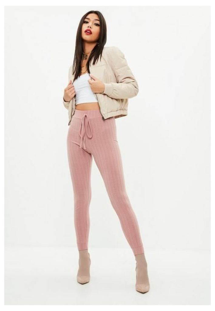 Pink Soft Ribbed Skinny Joggers, Pink