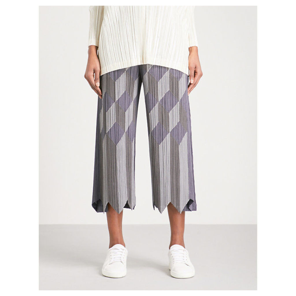 Geometric patchwork wide cropped pleated trousers