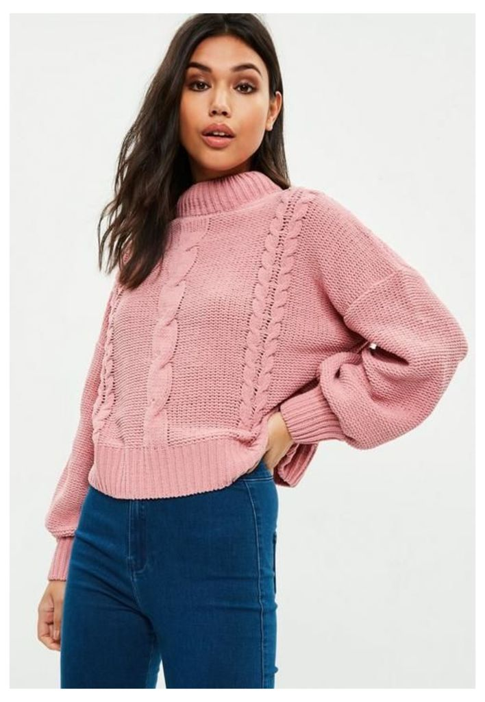 Pink Chenille Cable Knit Jumper, Pink