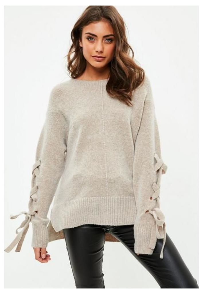 Brown Soft Touch Lace Up Knitted Jumper, Beige