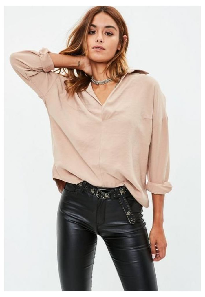 Camel Oversized Blouse, Brown