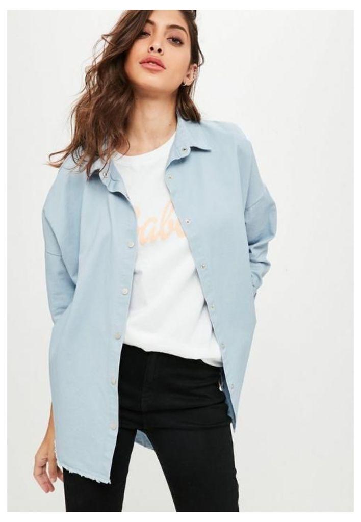 Blue Oversized Washed Denim Shirt, Blue