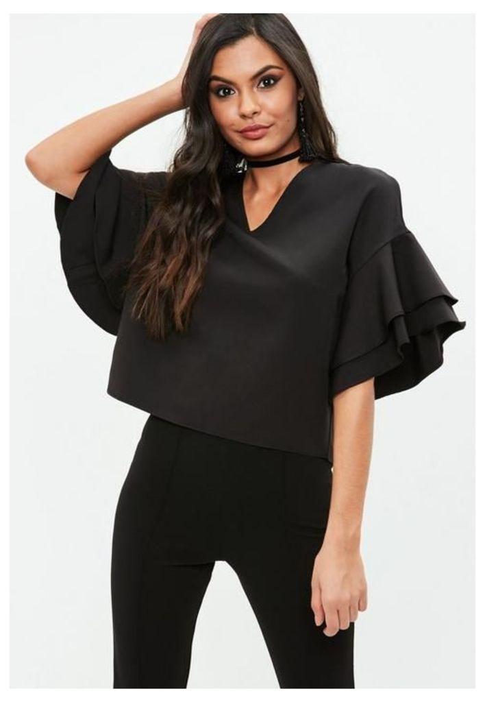 Black Ruffle Sleeve V Neck Top, Black