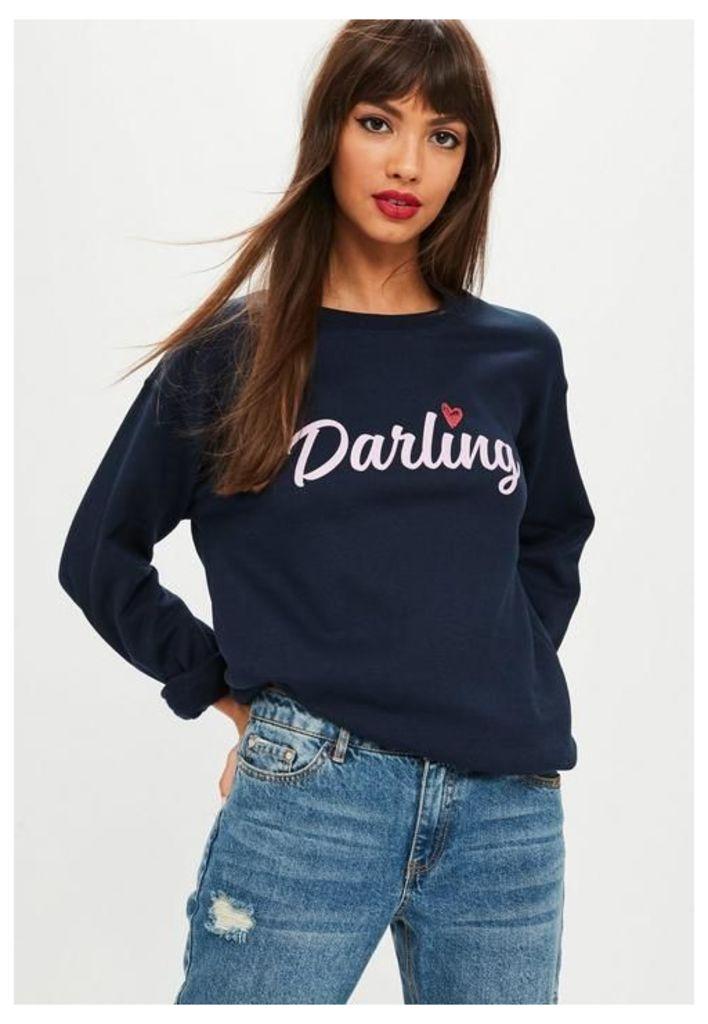 Navy Darling Slogan Sweatshirt, Blue