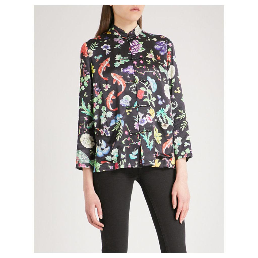 Shen band-collar satin shirt