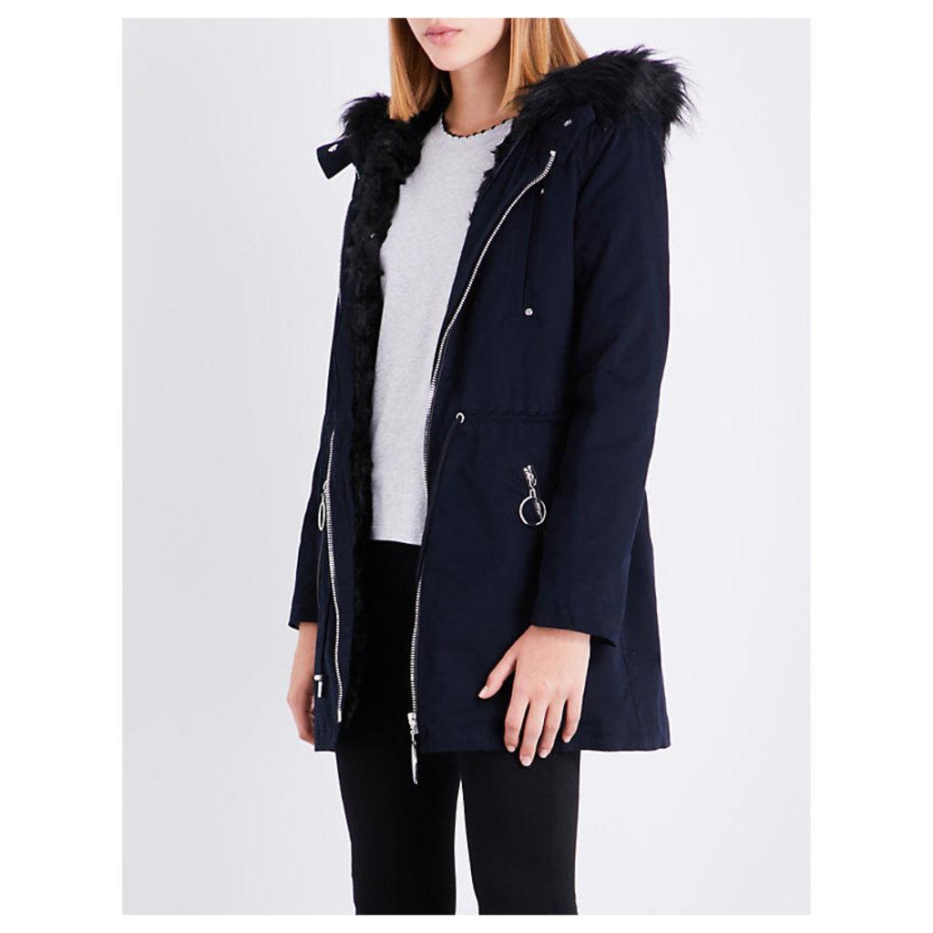Faux-fur-lined stretch-cotton coat