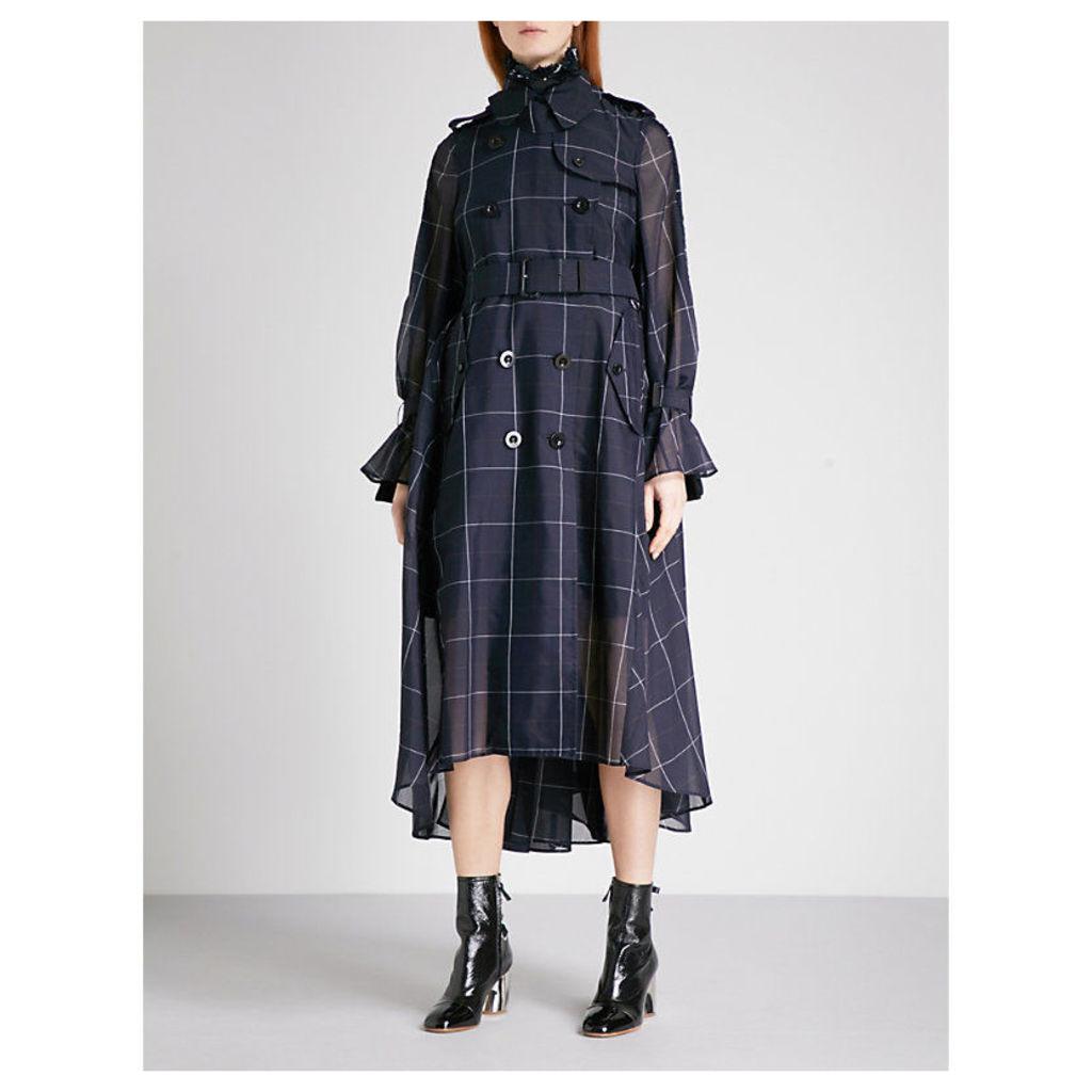 Checked tweed and organza coat