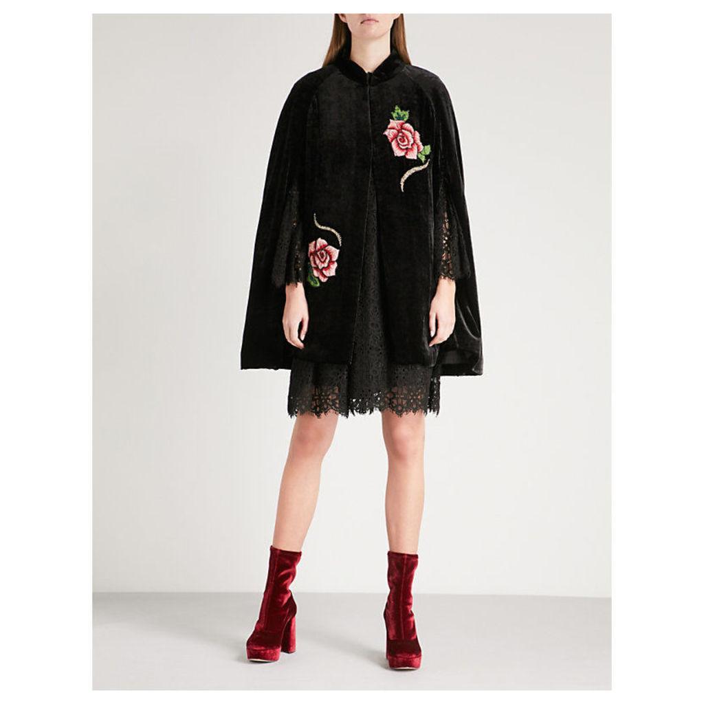 Rose-embroidered velvet cape