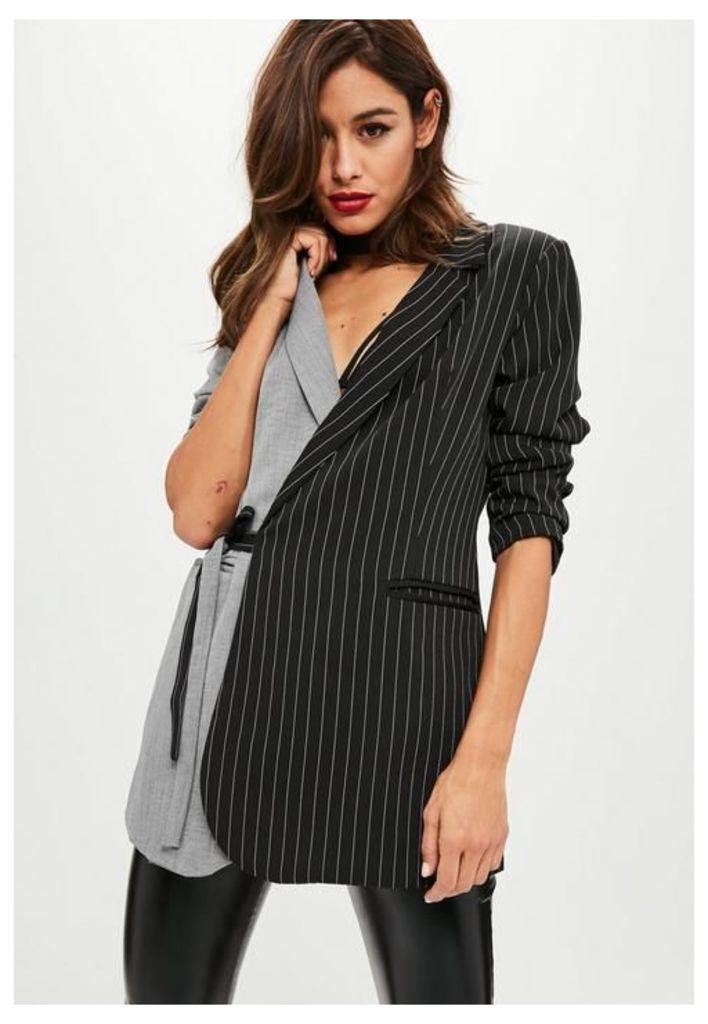 Grey Two Tone Pinstripe Wrap Blazer, Grey
