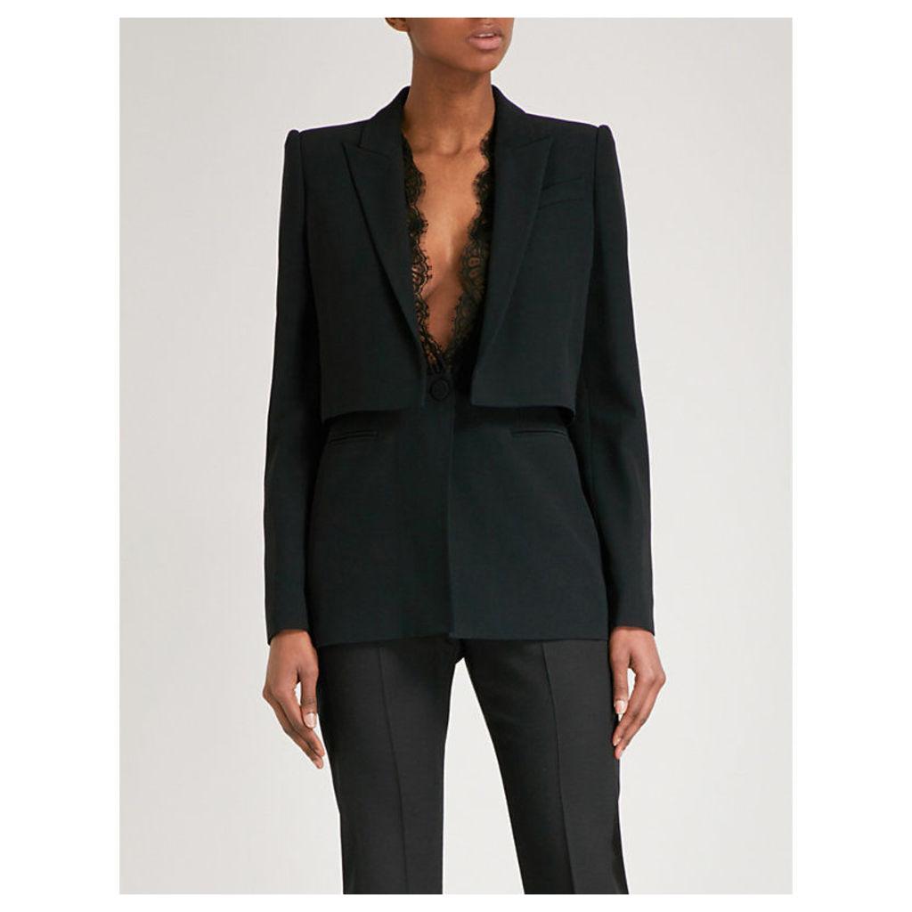 Layered lapel crepe blazer
