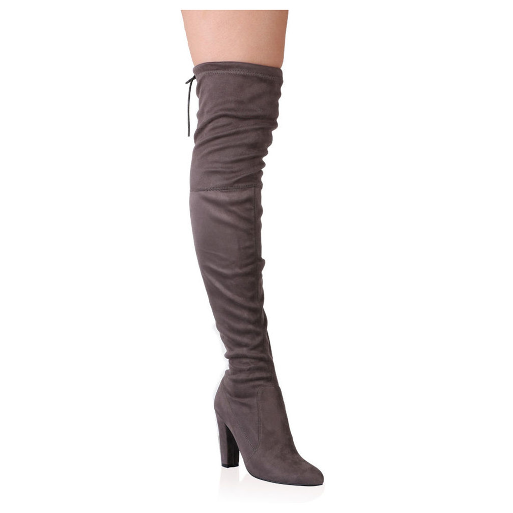 Janine Over the Knee Boots  Faux Suede, Grey