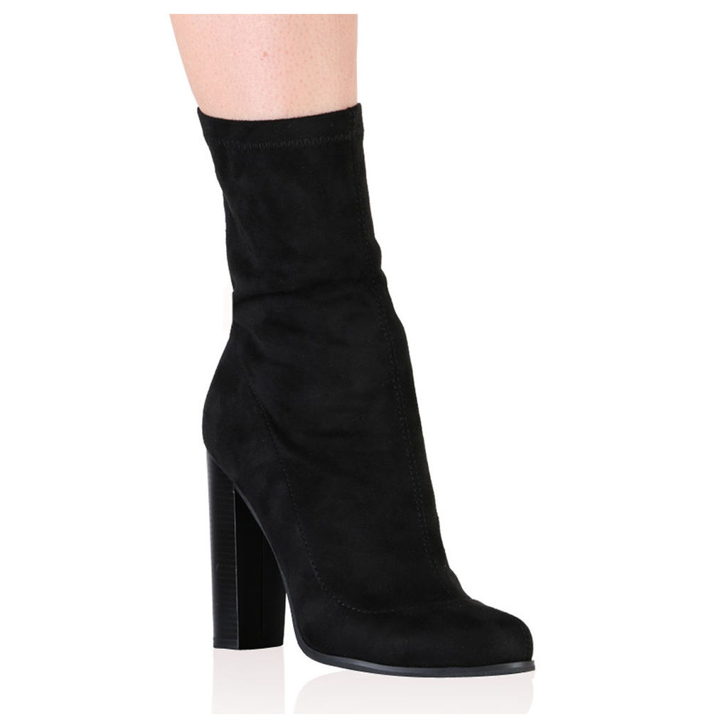 Florence Ankle Boots  Faux Suede, Black