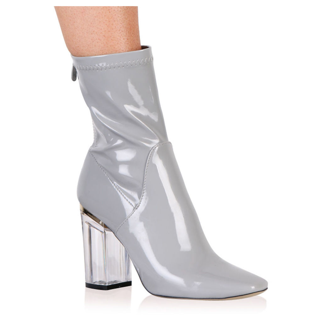 Chloe Clear Perspex Heeled Ankle Boots, Grey