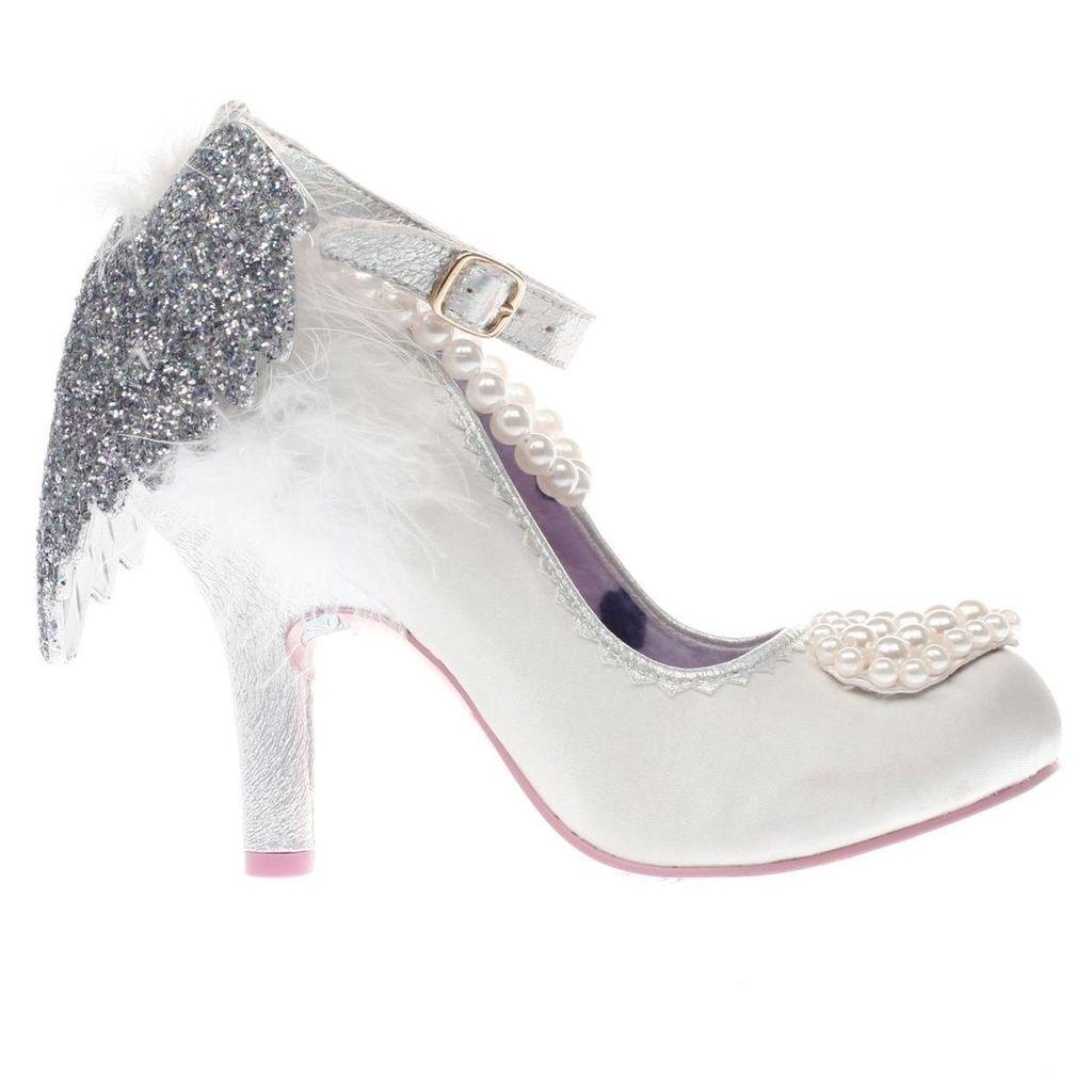 irregular choice white & silver eros high heels