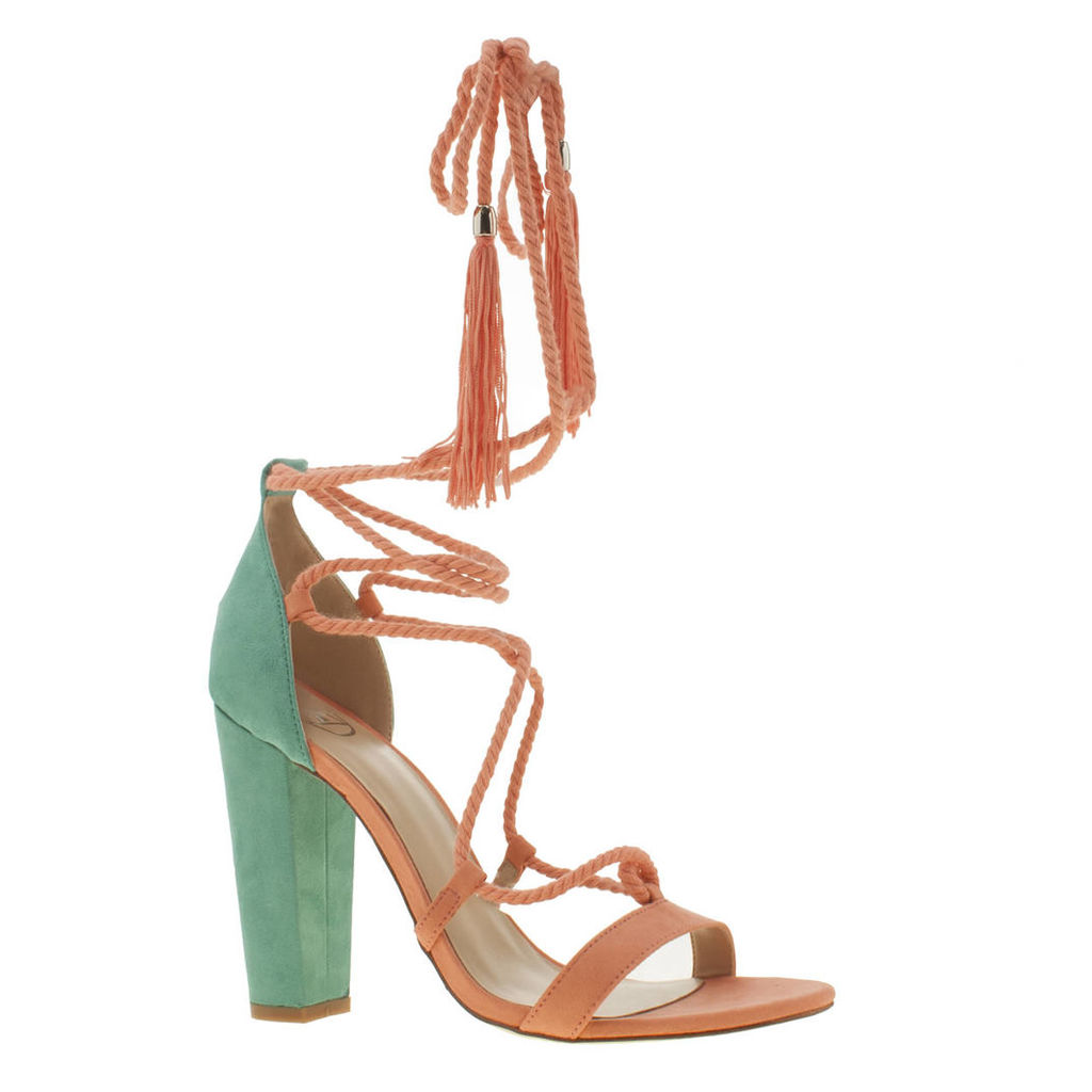missguided multi lace up tassel high heels