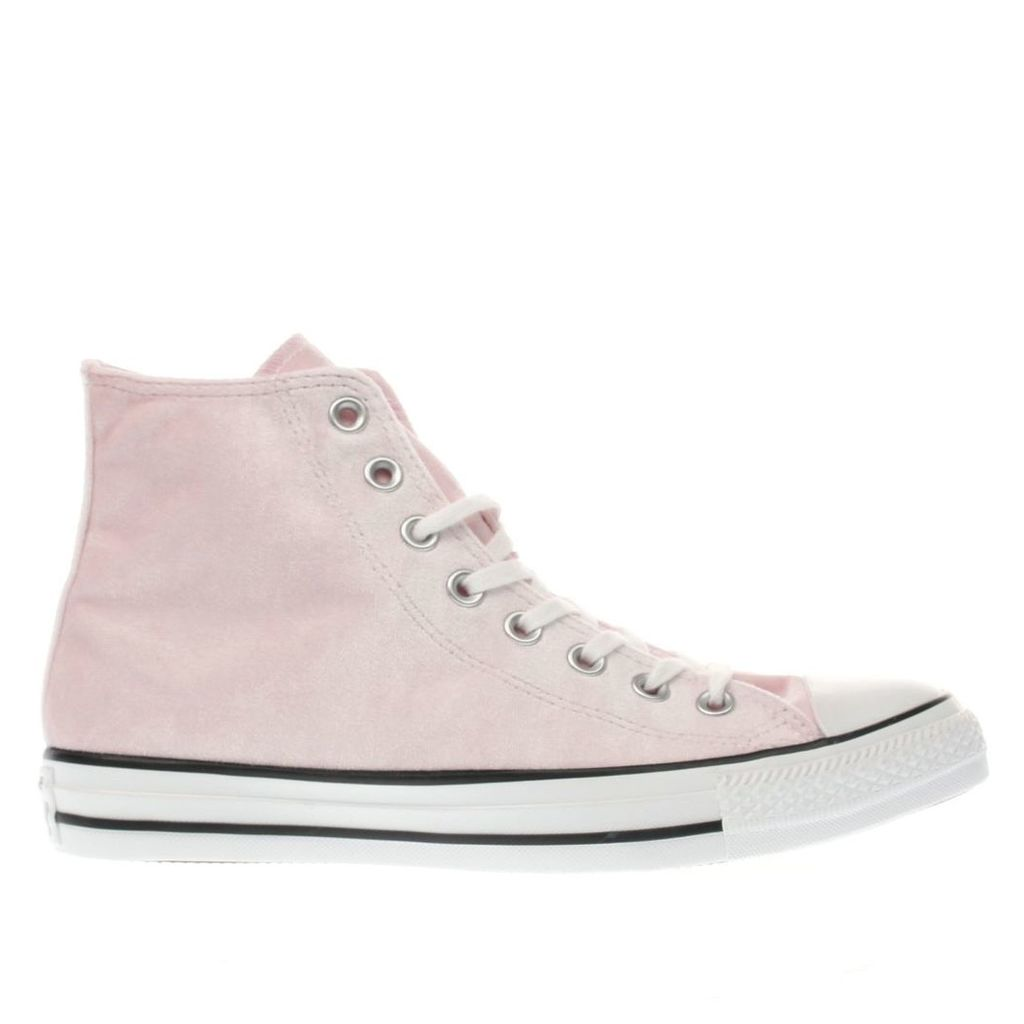 converse pale pink all star velvet hi trainers