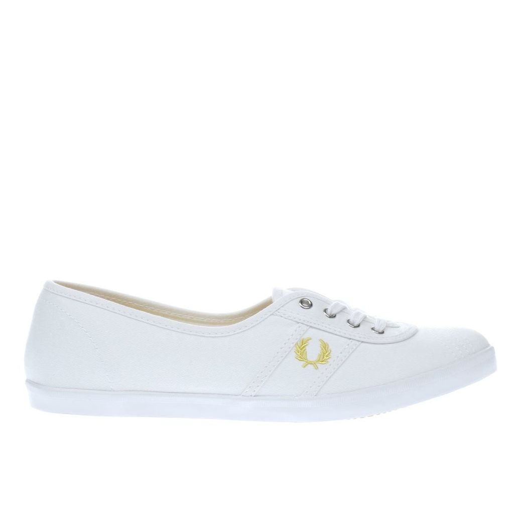 fred perry white & gold aubrey twill trainers
