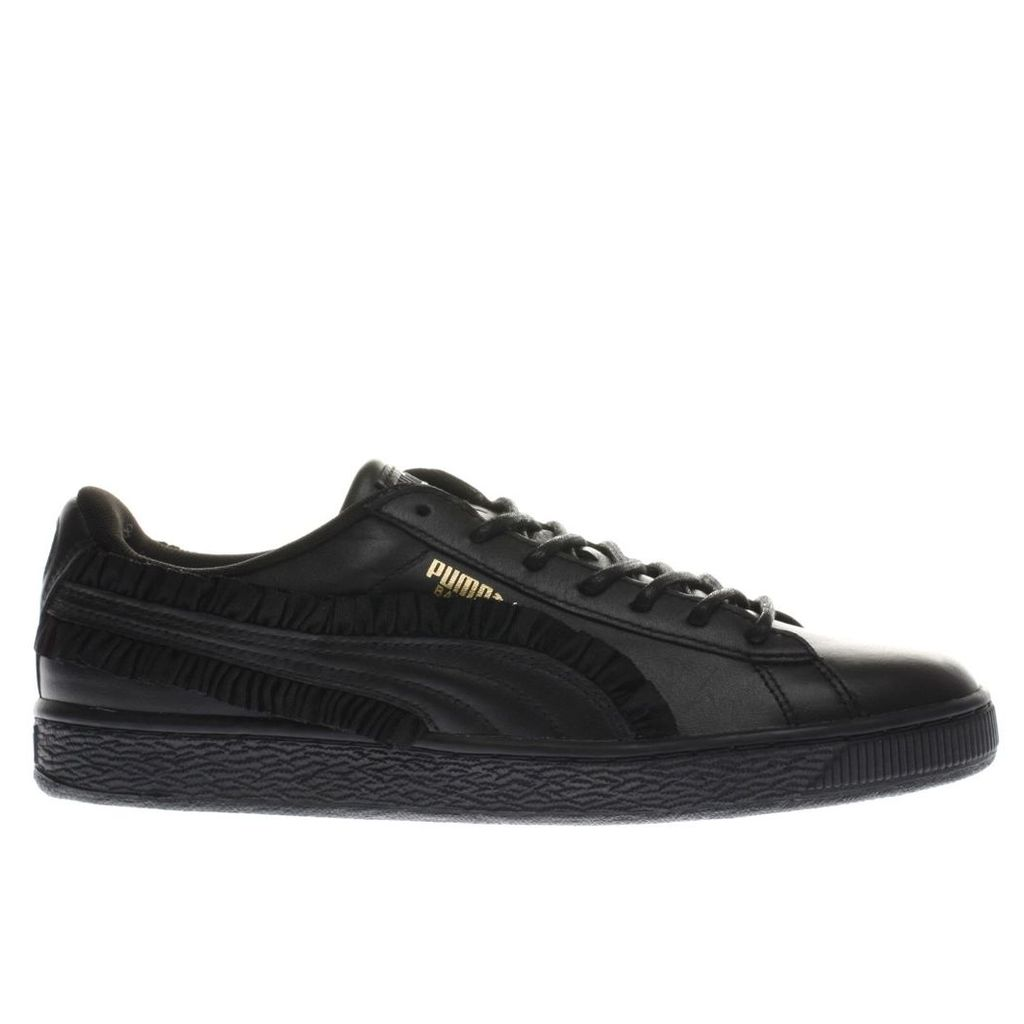 puma black basket classic frill trainers