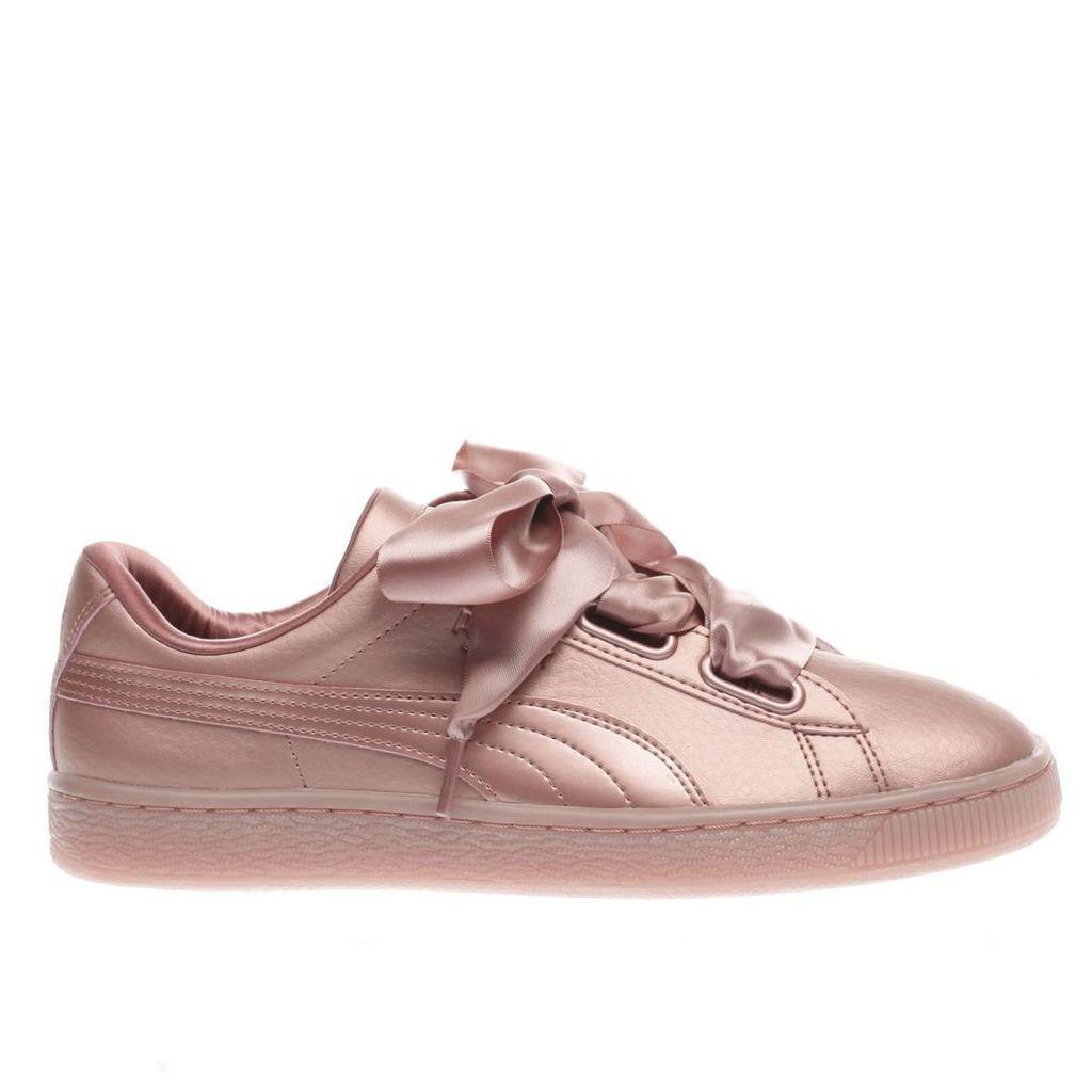 puma pink basket heart copper trainers