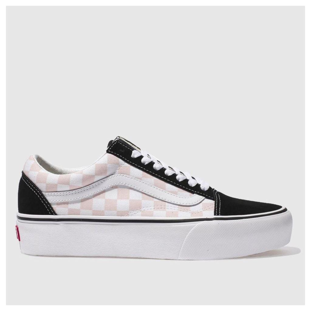 vans white & pink old skool platform check trainers
