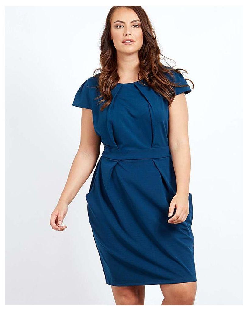 Blue Vanilla Curve Pleated Tulip Dress