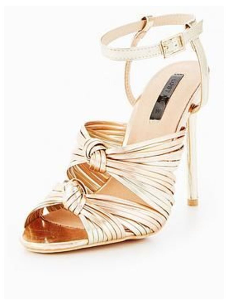 Lost Ink Wide Fit Beth Double Knot Dance Shoe - Rose Gold