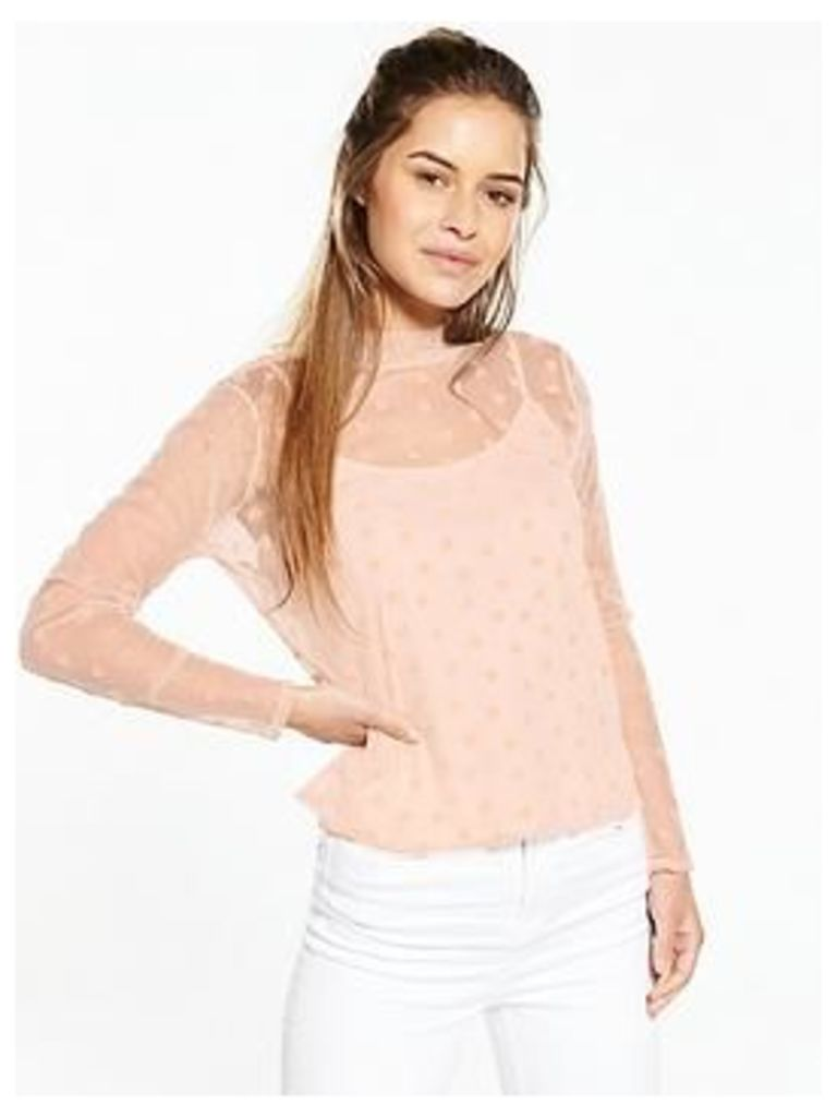 V By Very Petite Heart Flock Mesh Top