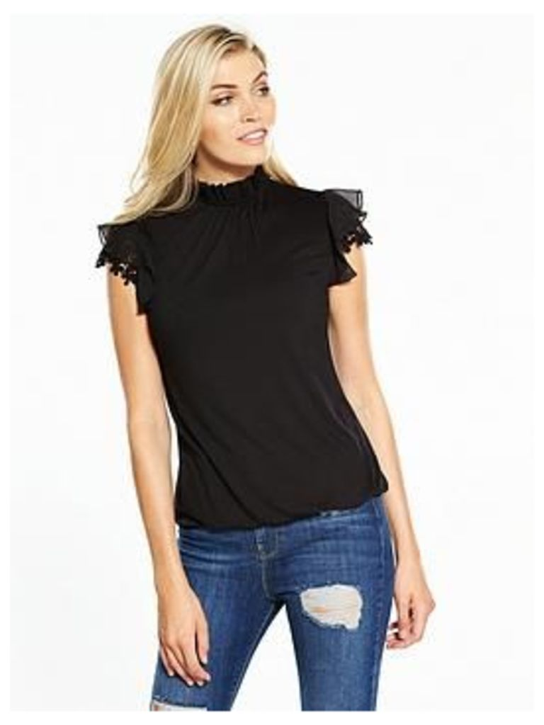 V By Very Guipure Ruffle Sleeve Top